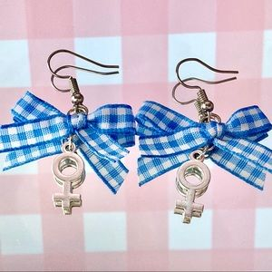 Blue female gender symbol earrings